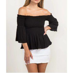 Black off the shoulder blouse